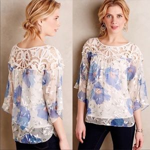 Anthropologie Floral Sheer Silk Top Peasant Blouse